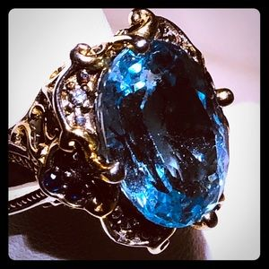 Michael Valitutti Swiss Topaz Silver Ring